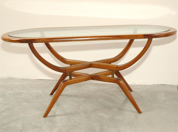 60 39 s oval coffee table with glass top at 1stdibs for 60s coffee table