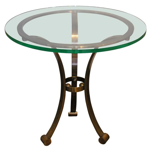 elegant side table in bronze with glass top at 1stdibs