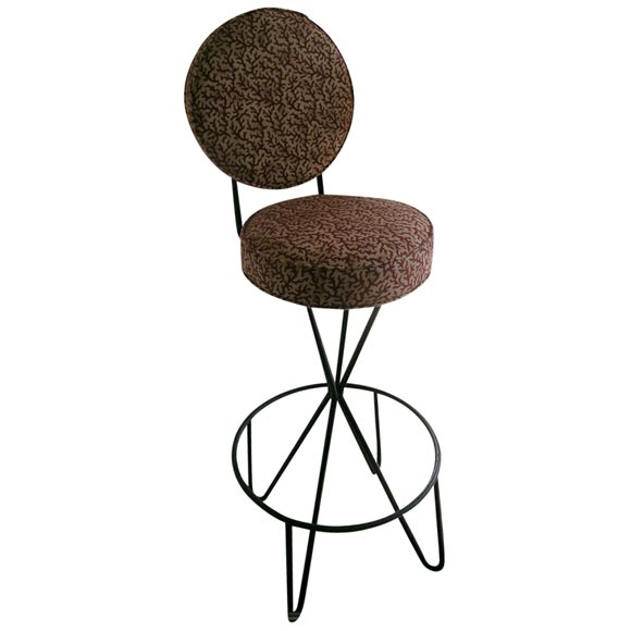Wrought Iron Upholstered Bar Stool At 1stdibs