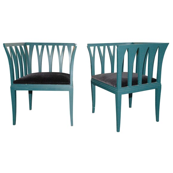 Pair of blue chairs by eliel saarinen at 1stdibs for Eliel saarinen furniture