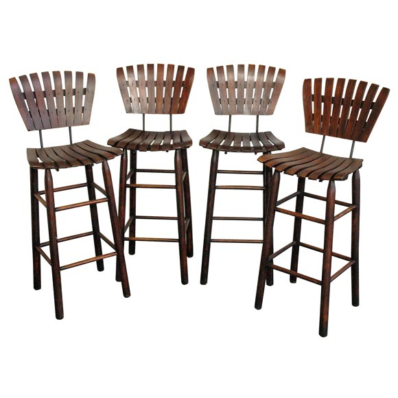 Set Of Four Bar Stools With Wood Slated Seat And Back At