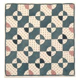 19TH C GEOMETRIC BLUE AND WHITE DOLL QUILT