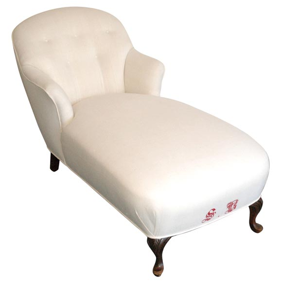 1920 1930s chaise longues upholstered in 19thc homespun for Chaise 1930