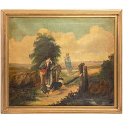 19th Century Naive Oil on Canvas