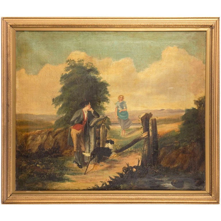 19th Century Naive Oil on Canvas For Sale