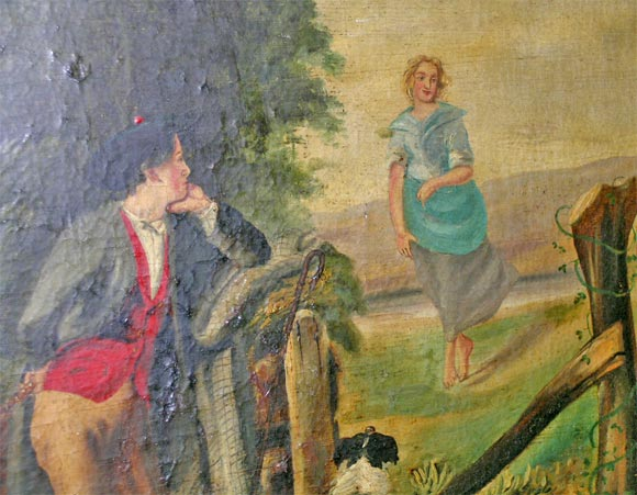 19th Century Naive Oil on Canvas For Sale 1