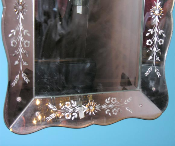 Italian Small Venetian Mirror For Sale