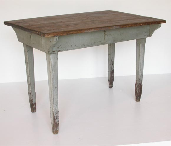 19THC SMALL FARM TABLE ORIGINAL GREY PAINT at 1stdibs