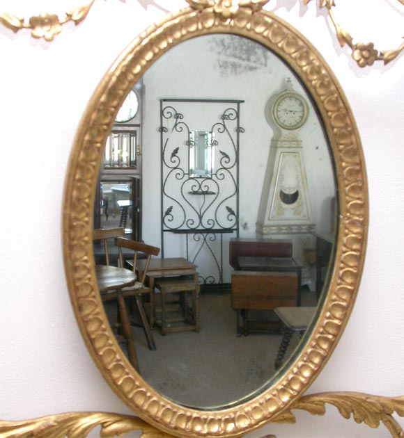 Decorative oval wall mirror for sale at 1stdibs for Fancy oval mirror