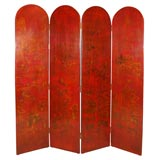 Painted  Red Leather Screen