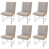 Set of Six Thin-Framed Milo Baughman Dining Chairs