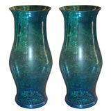 Pair Of Handblown Glass Hurricanes