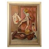 Edna Reindel oil on board painting Detroit/Mi/ Los Angeles artis