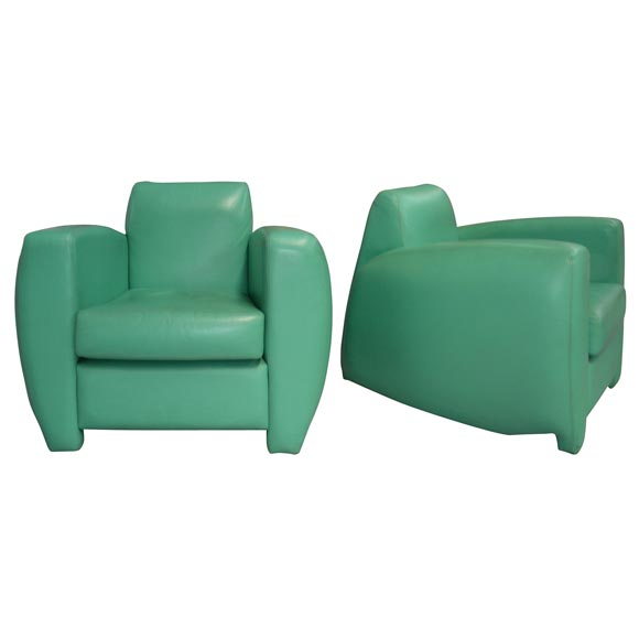 Two Light Green Leather Armchairs By Chafik Gasmi At 1stdibs