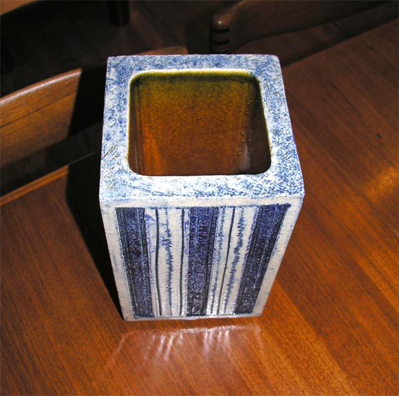 Blue Glazed Ceramic Vase by Roger Capron In Excellent Condition For Sale In Brooklyn, NY