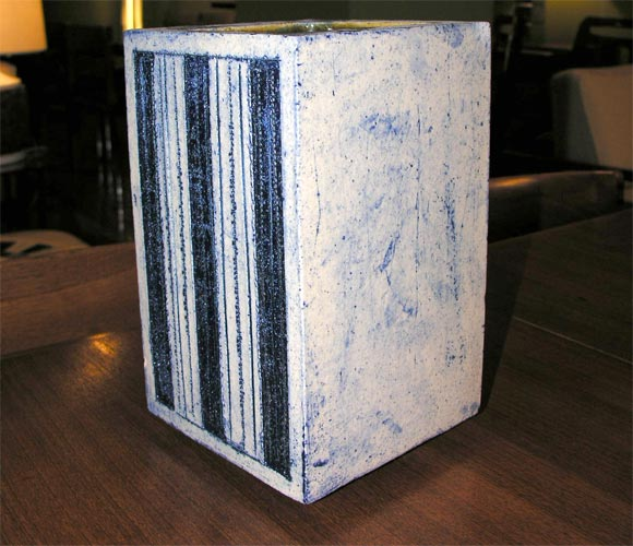 Late 20th Century Blue Glazed Ceramic Vase by Roger Capron For Sale
