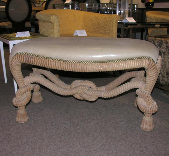 Hand carved bench with leather seat by karl springer