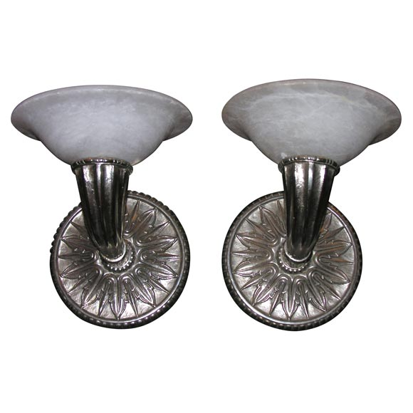Pair of Modern Deco-Style Wall Sconces