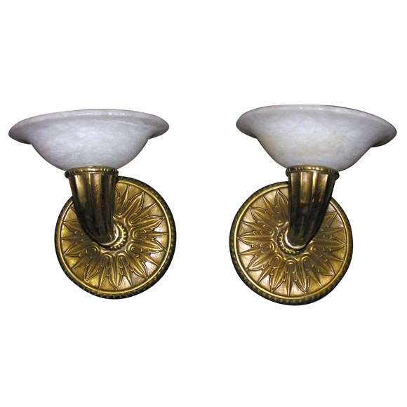 Pair of Modern Deco-Style Wall Sconces For Sale at 1stdibs