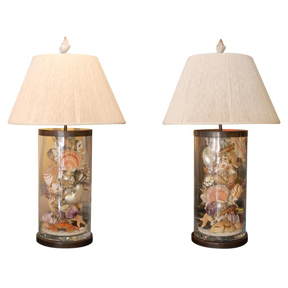 pr wonders of the sea table lamps at 1stdibs. Black Bedroom Furniture Sets. Home Design Ideas