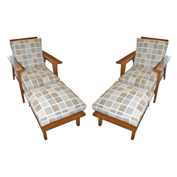 Mahogany arm chairs with matching foot rest at 1stdibs for Matching arm chairs