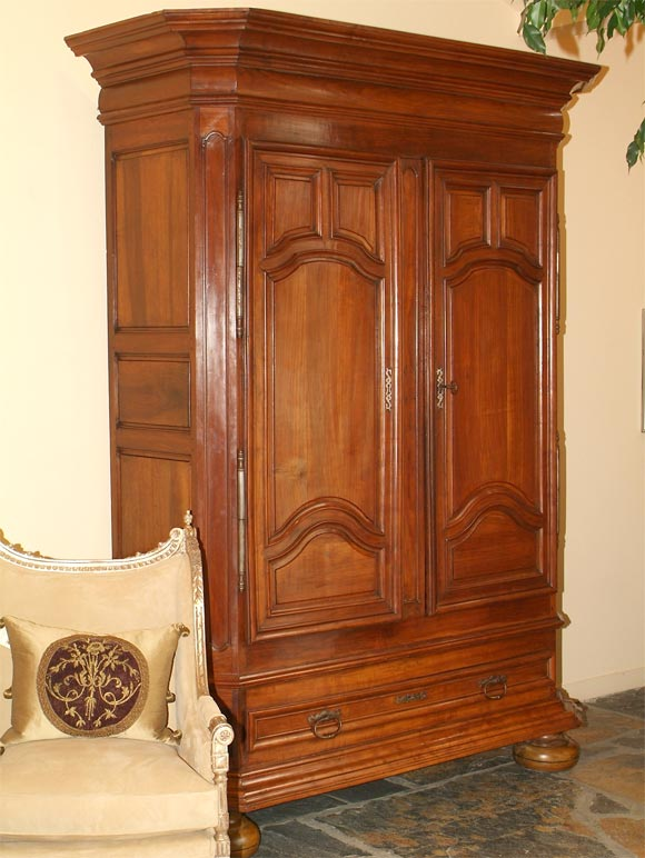 louis xvi cherrywood armoire at 1stdibs. Black Bedroom Furniture Sets. Home Design Ideas
