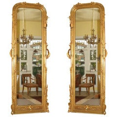 Pair of Grand Scale Giltwood Mirrors