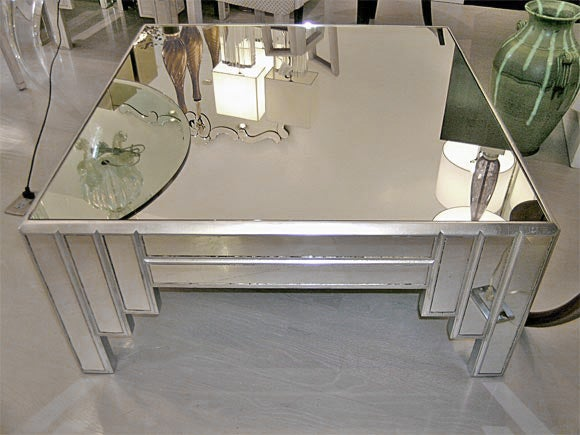James Mont Mirror And Silver Leaf Coffee Table 2