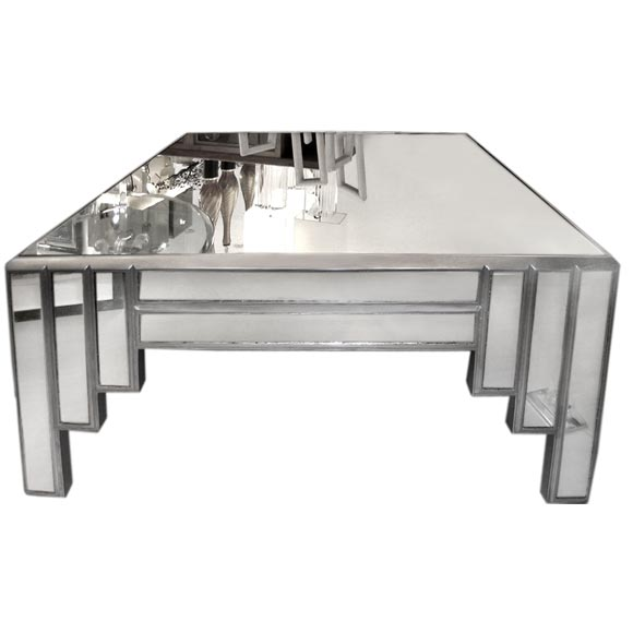 James Mont Mirror And Silver Leaf Coffee Table At 1stdibs