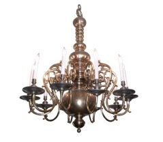 Impressive Large Brass & Bronze Chandelier