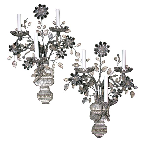 pair of  u0026quot bagues u0026quot  silvered iron and crystal three