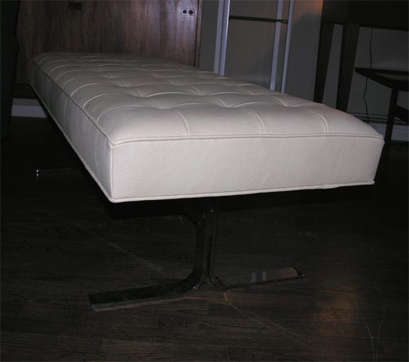 White Leather Tufted Bench At 1stdibs