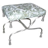 Silver-leafed Wrought Iron Stool