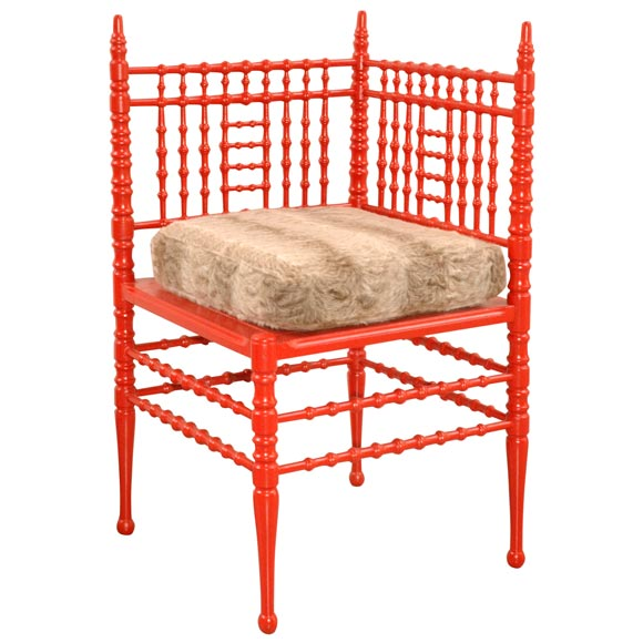 Red Coral Spool Chair at 1stdibs