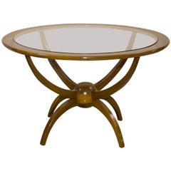 60's Round Coffee Table with Glass Top