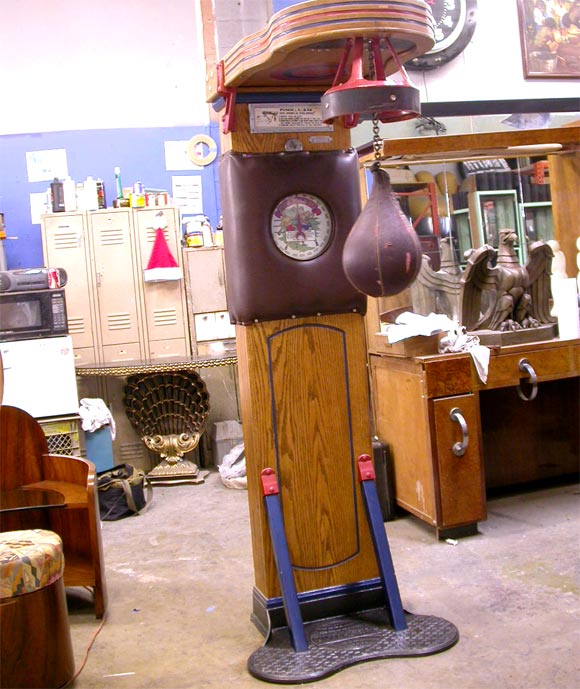 Created in the 1920s, the Mutoscope Punch-A-Bag was a popular attraction in penny arcades throughout the country. Very few seem to have survived, as they rarely are seen available for sale. Ours in in fine working condition, operating on a single