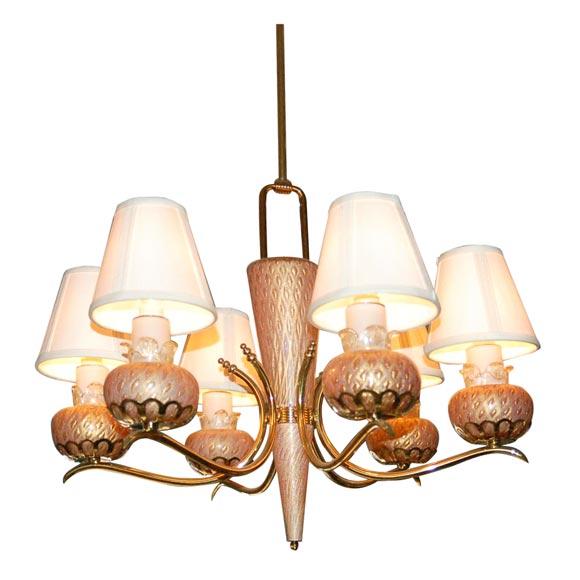 Barovier Murano Six Light Chandelier At 1stdibs