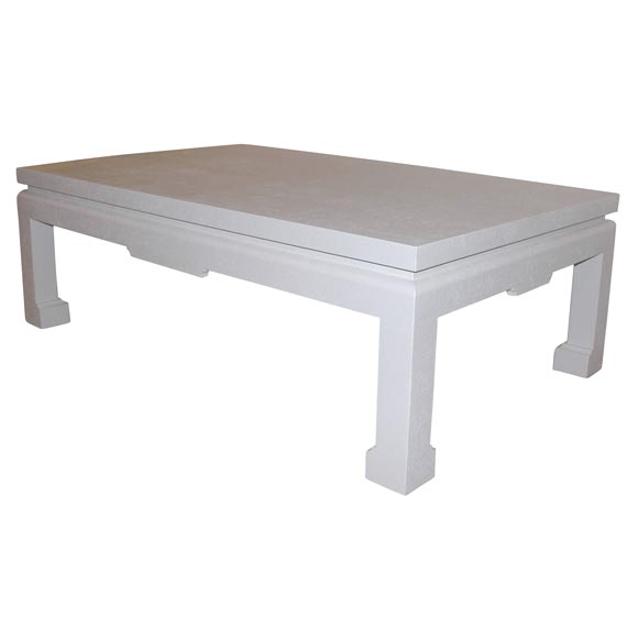 A Karl Springer Lacquered White Linen Chinese Style Low Table At 1stdibs
