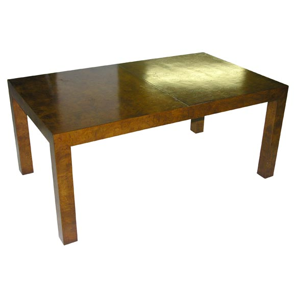 Olive Ash Burl Parsons Dining Table By Milo Baughman At 1stdibs