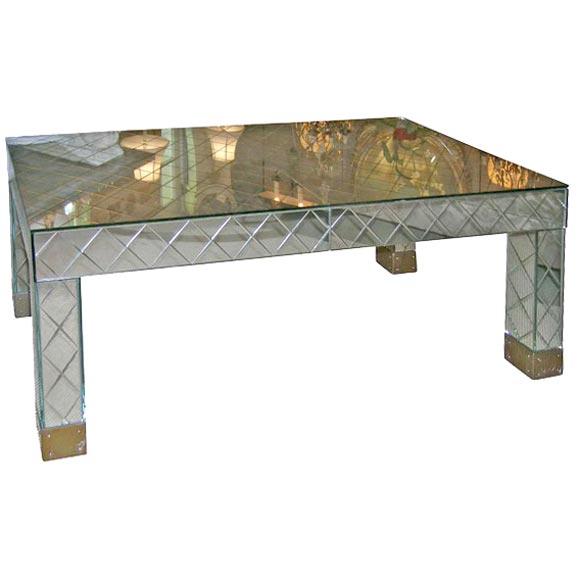 Lattice Mirrored Cocktail Table At 1stdibs