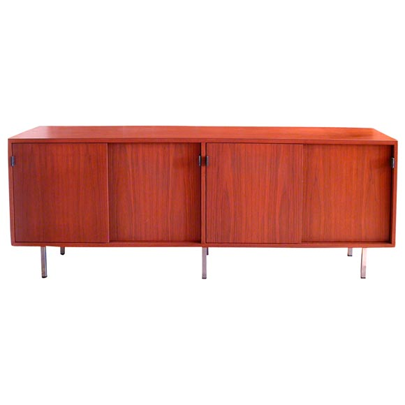 Walnut Credenza W Leather Tab Pulls By Florence Knoll At