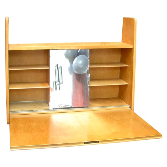 Elm wood wall mount dressing table desk by elias svedberg