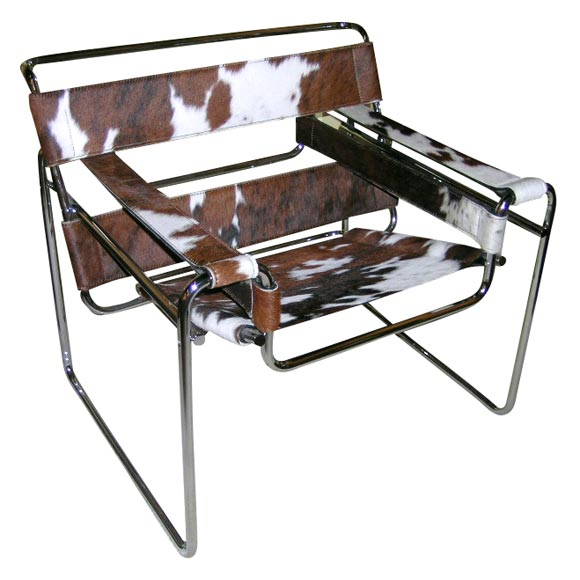 Cowhide Barstools Vintage Black White Hairhide Leather Bar: A Tubular Steel And Cowhide 'Wassily' Chair By Marcel