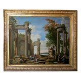 19 Century Italianate Painting in Gilt Wood Frame