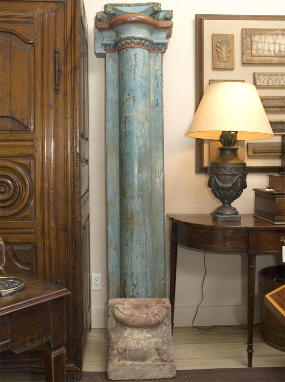 1850s set of four French painted and carved wood architectural columns with stone bases (2 half rounds to attach to wall and 2 full rounds to float). Can be sold in pairs.