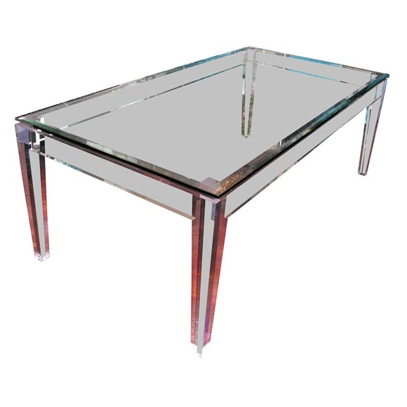Acrylic And Glass Dining Table For Sale