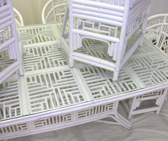 Bamboo Dining Table And Six Arm Chairs At 1stdibs