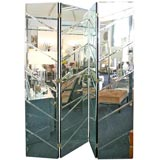 A Mirrored Four Panel Folding Screen