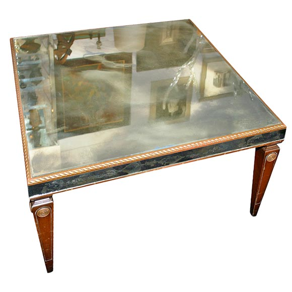 A Square Antique Mirrored Cocktail Table At 1stdibs