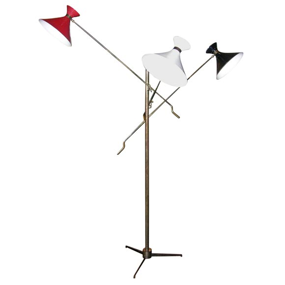 Adjustable 3 arm floor lamp at 1stdibs for Monique 3 light adjustable floor lamp